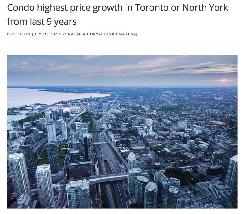 What was higher condos price growth in Toronto and North York