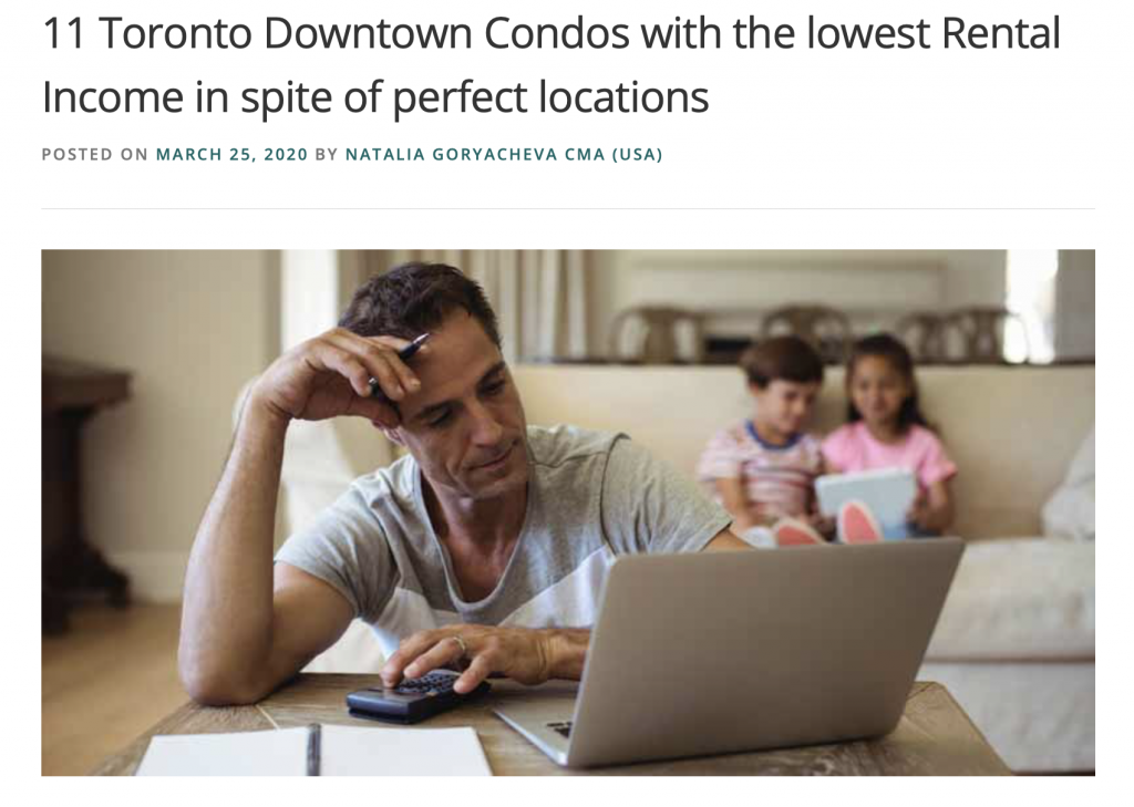 Toronto Condos with the lowest rental income